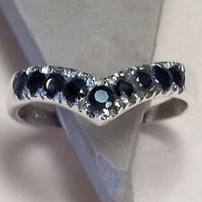 Natural 2ct Sapphire 925 Solid Sterling Silver Solitaire Heart Ring sz 7.5