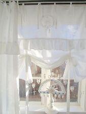 LillaBelle LARA Weiß Raff Gardine 140x120 Spitze Volant bestickt Landhaus Shabby
