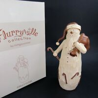 "Flurryville Chilly Claus Candy Cane Christmas Wood Carved Figurine 8"" Snowman"