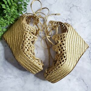 Hermes Auth Gold Braided Leather Lace-Up Espadrille Wedge Sandals Eur 40 US 9.5