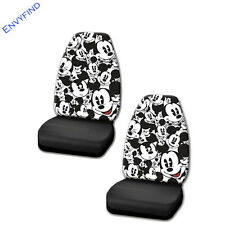 New 2 Front Seat Covers Disney Mickey Mouse Black White Face Expressions Pair