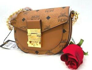 AUTH NWT MCM Patricia Visetos Round Cognac Coated Canvas Leather Crossbody Bag