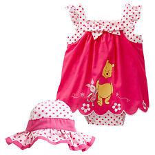NWT Disney Licensed Winnie The Pooh Girls Sunsuit Romper Hat Summer Set Size 0