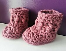 Baby booties boots crochet handmade hand knit mauve warm 9-12months gift
