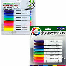 Whiteboard Markers Dry Wipe 8 Erasable Marker Board Colour Pens