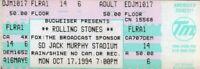 ROLLING STONES 1994 VOODOO LOUNGE TOUR UNUSED JACK MURPHY STADIUM TICKET