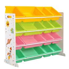 Kinderzimmerregal, Spielzeugregal, Spielzeug-Organizer mit 16 Kunststoffboxen