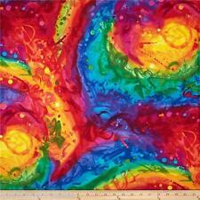 Fantasia Painted Abstract Brilliant Hues Chong-A Hwang Multi Fabric 1/2 Yard