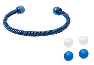 Honora Interchangeable Pearl  Earring and Bracelet Set indigo / size average