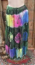 L@@K!FREESIZE- SZ10/12/14+ CHIFFON TIEDYE EMBROIDERED BOHO HIPPY GYPSY SKIRT-V41