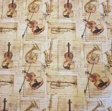 Stoff Baumwolle Musik Instrumente Bach beige Trompete Geige Cello Saxophon Neu
