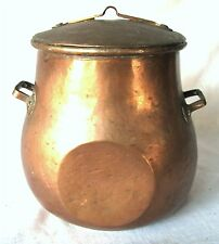 ANTIQUE SWEDISH CROWN MARK HAND MADE DOVE TAIL COPPER CANISTER KETTLE POT W LID
