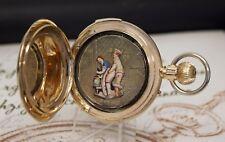 RARE 14k Oro Orologio da Tasca con repetition & erotico sportello automatico Repeater Pocket Watch