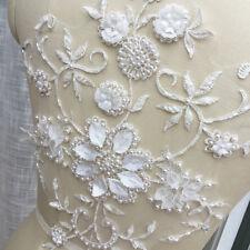 Adorno De Encaje Marfil Traje de Boda Floral Motivo bordado con cuentas de adorno de 1 piezas