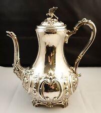 RARE  UNIQUE Silver Plate Antique coffee pot hawk on the top + repose all over