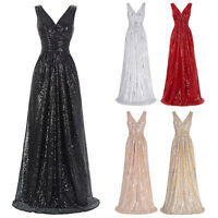 Long Maxi Sequins Bridesmaid Dress Evening Banquet Formal Party Cocktail Gown WW