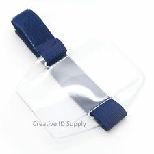 Vertical Arm Band ID Badge Holder with Navy Blue Strap or Black Strap