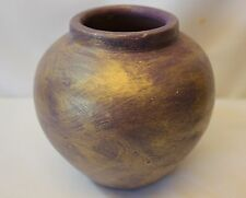 """Vase Ceramic Artificial Flowers Floral Bouquet Hand Painted Purple Gold 5"""""""