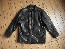 AVIATRIX men's heavy very dark brown real leather jacket / coat, size XL