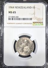 1964 MS65 New Zealand Shilling NGC UNC KM 27.2 Pop 6/1 Maori warrior Registry