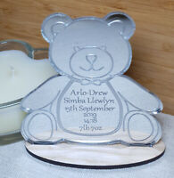 PERSONALISED NEW BABY CHRISTENING GIFT TEDDY BEAR SILVER KEEPSAKE BOY GIRL