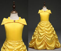 Kid Girl Party Dress Beauty and the Beast Princess Belle Prom Pageant Gown