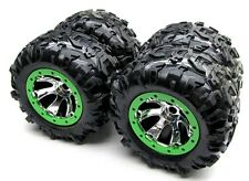 Summit TIRES canyon AT 17mm GREEN WHEELS tyres (set 4 Factory Glued Traxxas 5607