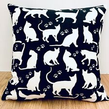 827. Handmade White cats on black 100% Cotton Cushion Cover.Various sizes