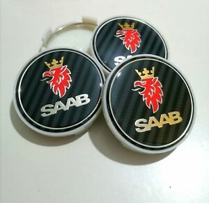 SAAB CENTRE HUB CAPS CARBON STYLE  ALLOY WHEELS x 4 SET 63mm 9-3 93 95 900 9-5