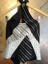 """Unique KAREN MILLEN HALTER NECK, black, fitted """"TIES"""" TOP, SIZE 10, WORN ONCE"""