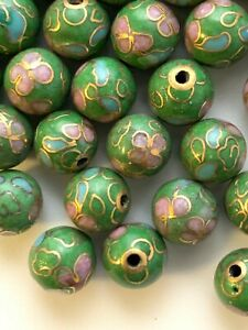 50 8mm Round Vintage Lt Green Cloisonne Beads - 1/2 Drill - Great for Earrings