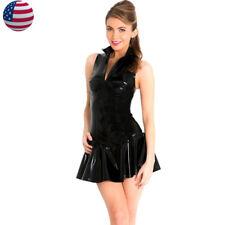 Women Sexy Zip Up Shiny Black VINYL PVC Bodycon Dress Bandage Clubwear