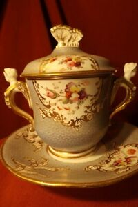 18th C. Style Antique Sevres Pattern Hand Painted Porcelain Covered Cup & Saucer