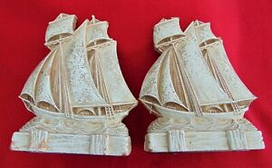 ANTIQUE SAILING SHIP BOOKENDS ~ PRESSED WOOD FIBER~GREAT DETAIL~NICE PATINA