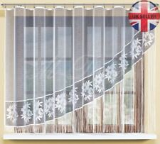 String floral net curtains ready to hang up WHITE 160x300(cm) with curtain tape!