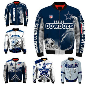 3D Mens Dallas Cowboys Jacket Ma1 Flight Bomber Thicken Coat Football Outwear