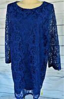 Ladies Plus Size Lace Dress – Cobalt Blue - Size 30