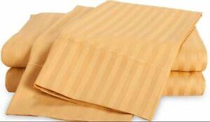Premium Egyptian Cotton 1200 TC Duvet Set +Fitted Sheet Gold Striped All Sizes