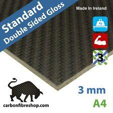 STANDARD Plaque en fibres de carbone 3mm [les deux côtés brillant] 210x297x3mm