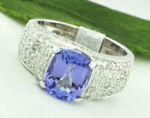 2.68 ct 18k Solid White Gold Natural Diamond & Cushion Cut AAA Tanzanite Ring