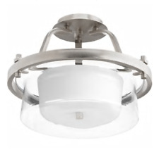 "Progress Lighting Indulge 15"" Brushed Nickel Transitional Semi-flush Mount Light"