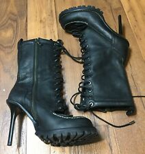 1d51c3a2dafddd Tory Burch Black Pebbled Zip Lace Up Leather Stiletto Trigg Hiking Boots Sz  9.5