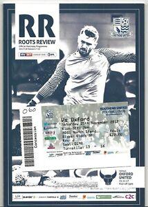 Football Programme plus Match Ticket>SOUTHEND UNITED v OXFORD UNITED Nov 2017