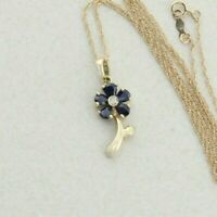 14k Yellow Gold Natural Blue Sapphire and Diamond Necklace Flower Necklace 18 in