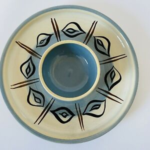 Vintage Stoneware Serving Snack Dip Dish Blue English Overstone Pottery