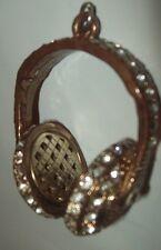 """Headphones Gem Pendant for Necklace Vintage 1.5"""" x 2"""" Exquisite Metal"""