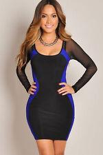 Langarm Bodycon Abend Mini Kleid Clubwear Party schwarz blau Netz Mesh Arme Gr M