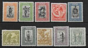 PAPUA SG130/9 1932-40 DEFINITIVE SET TO 1/= MTD MINT