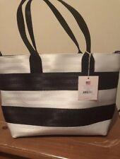 New HARVEYS SEATBELT crossbody Mini Streamline Tote Mod black white stripe purse