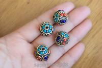 BD003 Handmade Nepal Beads Tibetan Brass Colorful Stone 15mm Loose Beads 4 PCS